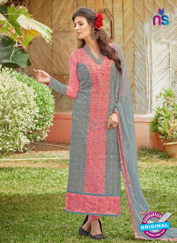 AZ 3305 Grey and Pink Embroidery Georgette Party Wear Suit