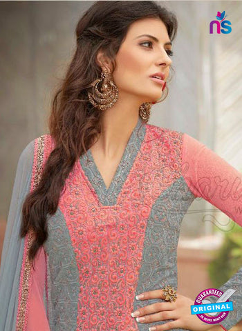 AZ 3305 Grey and Pink Embroidery Georgette Party Wear Suit Online