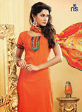 NS11468 OrangeRed and OliveGreen Cotton Embroidered Chudidar Suit