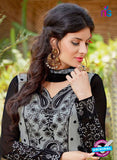AZ 3306 Grey and Black Embroidery Georgette Party Wear Suit Online