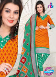 NS12107 Orange and Green Chudidar Suit