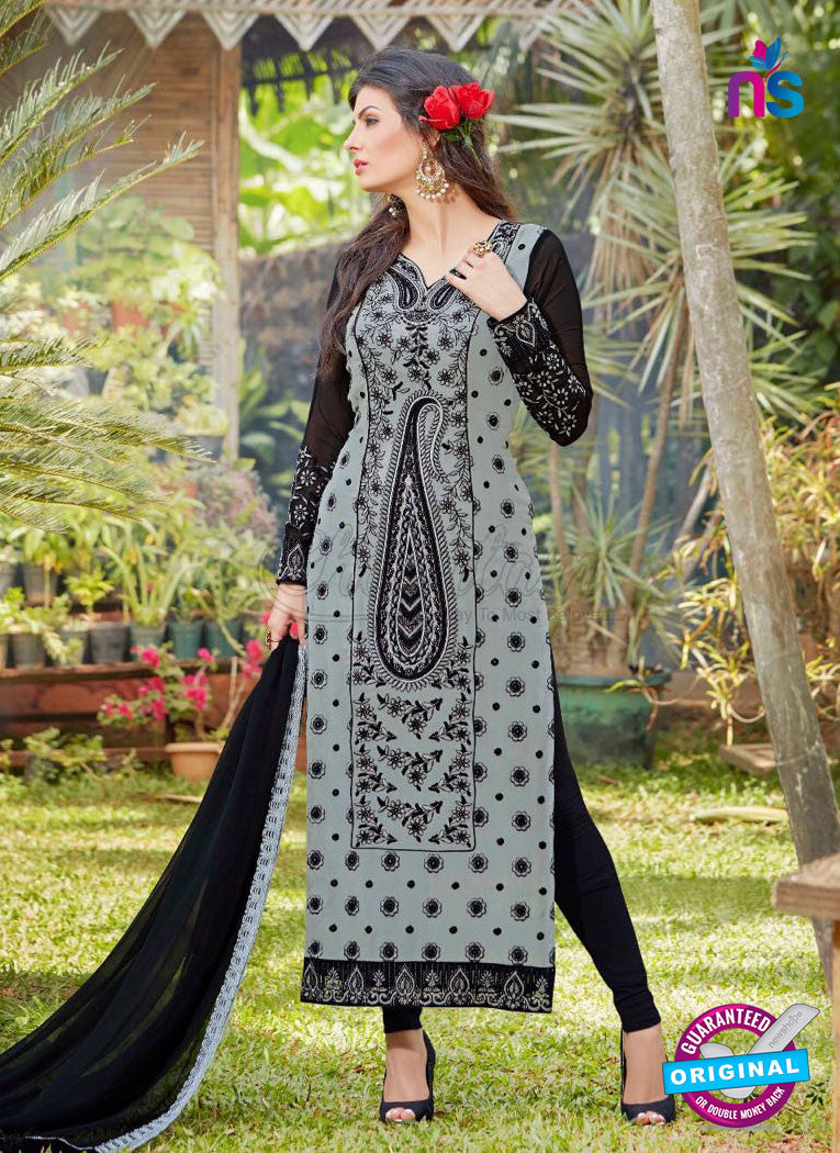 AZ 3306 Grey and Black Embroidery Georgette Party Wear Suit