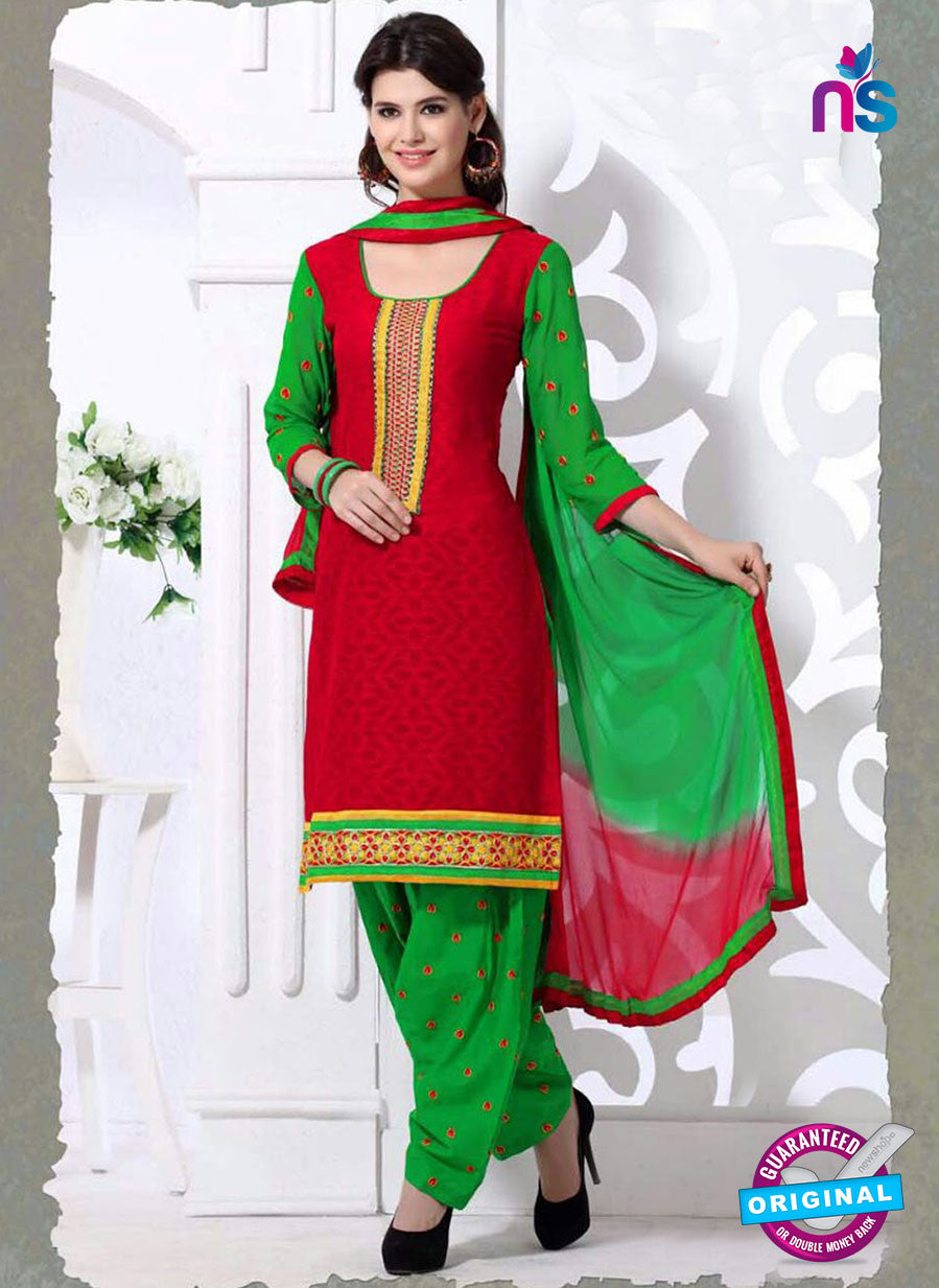 SC 13194 Red and Green Embroidered Jacquard Patiyala Suit