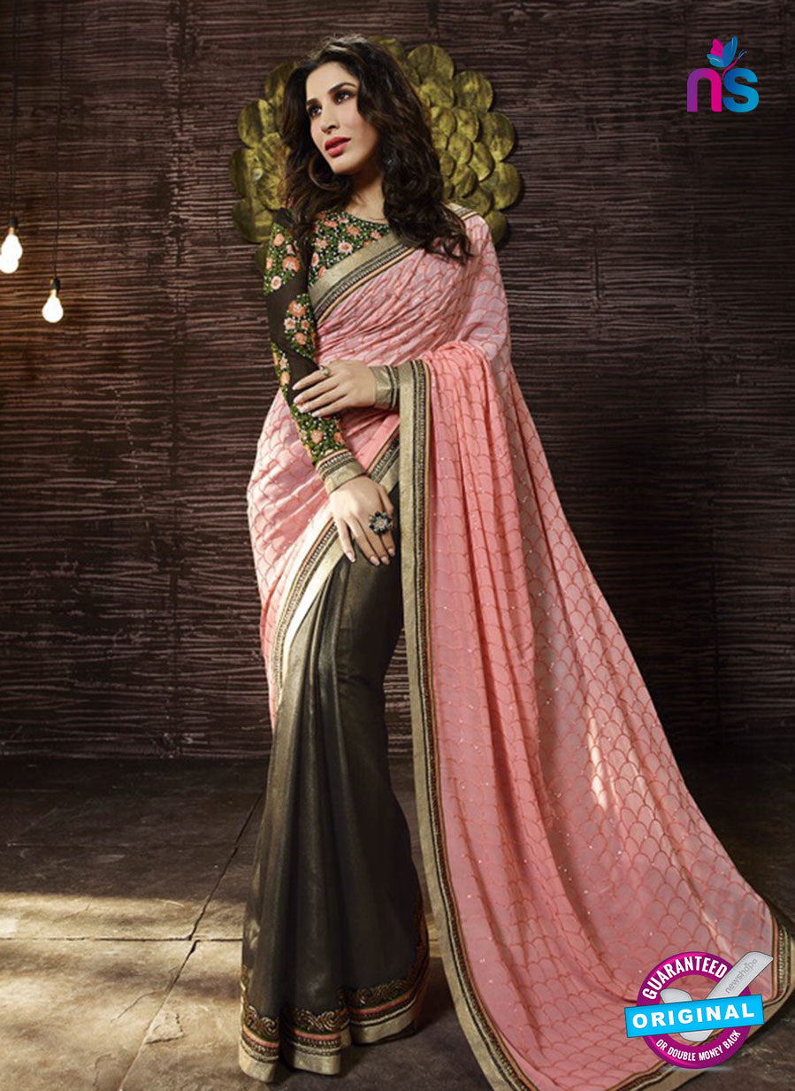 SC 13513 Pink and Brown Designer Fancy Traditional Party Wear Saree