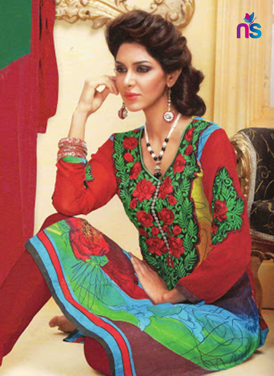 NS11470 Red and Green Cotton Embroidered Chudidar Suit
