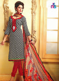 NS11471 Black and Red Cotton Embroidered Chudidar Suit