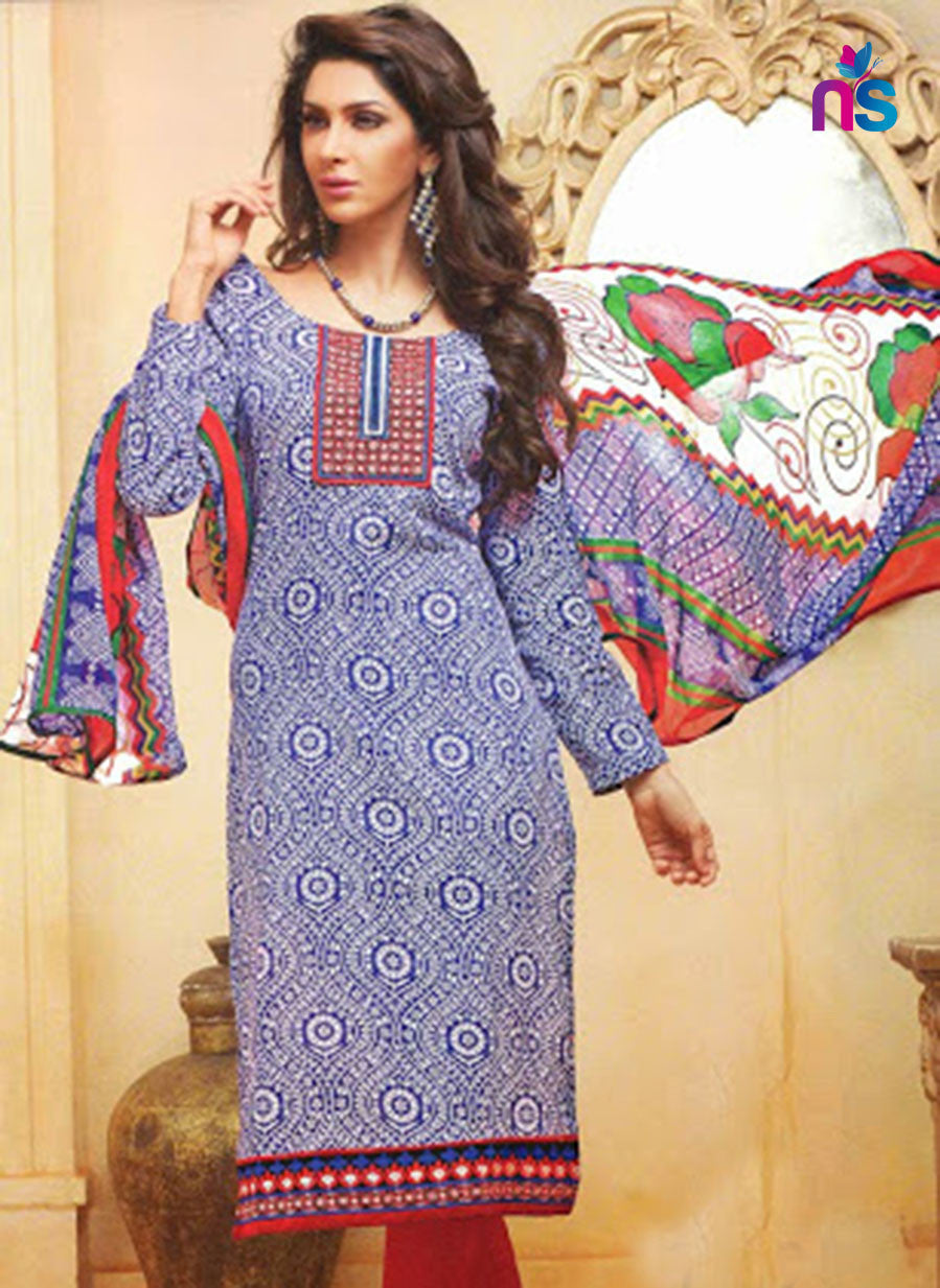 NS11472 SlateBlue and Red Cotton Embroidered Chudidar Suit