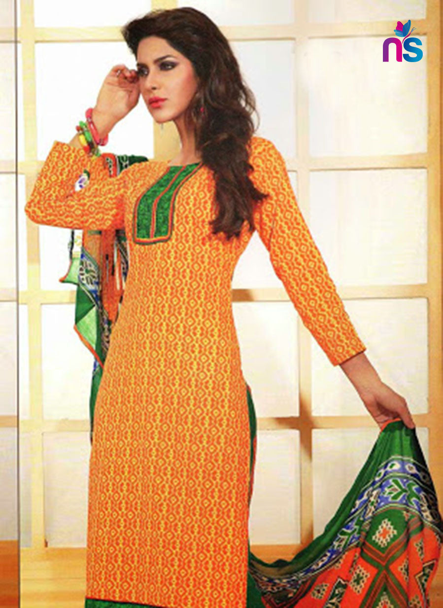 NS11473 TurmericYellow and Green Cotton Embroidered Chudidar Suit