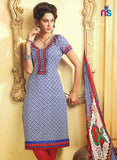 NS11475 RoyalBlue and Red Cotton Embroidered Chudidar Suit