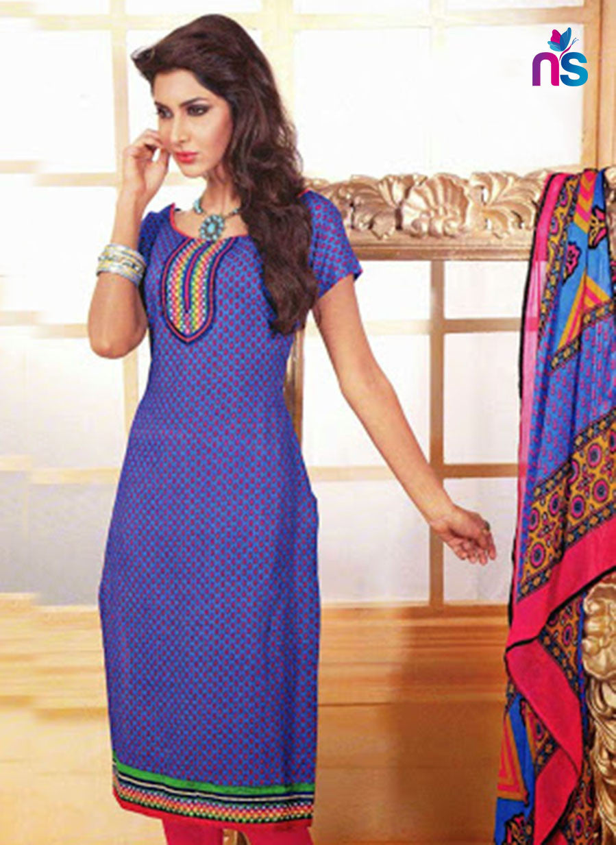 NS11476 RoyalBlue and DeepPink Cotton Embroidered Chudidar Suit
