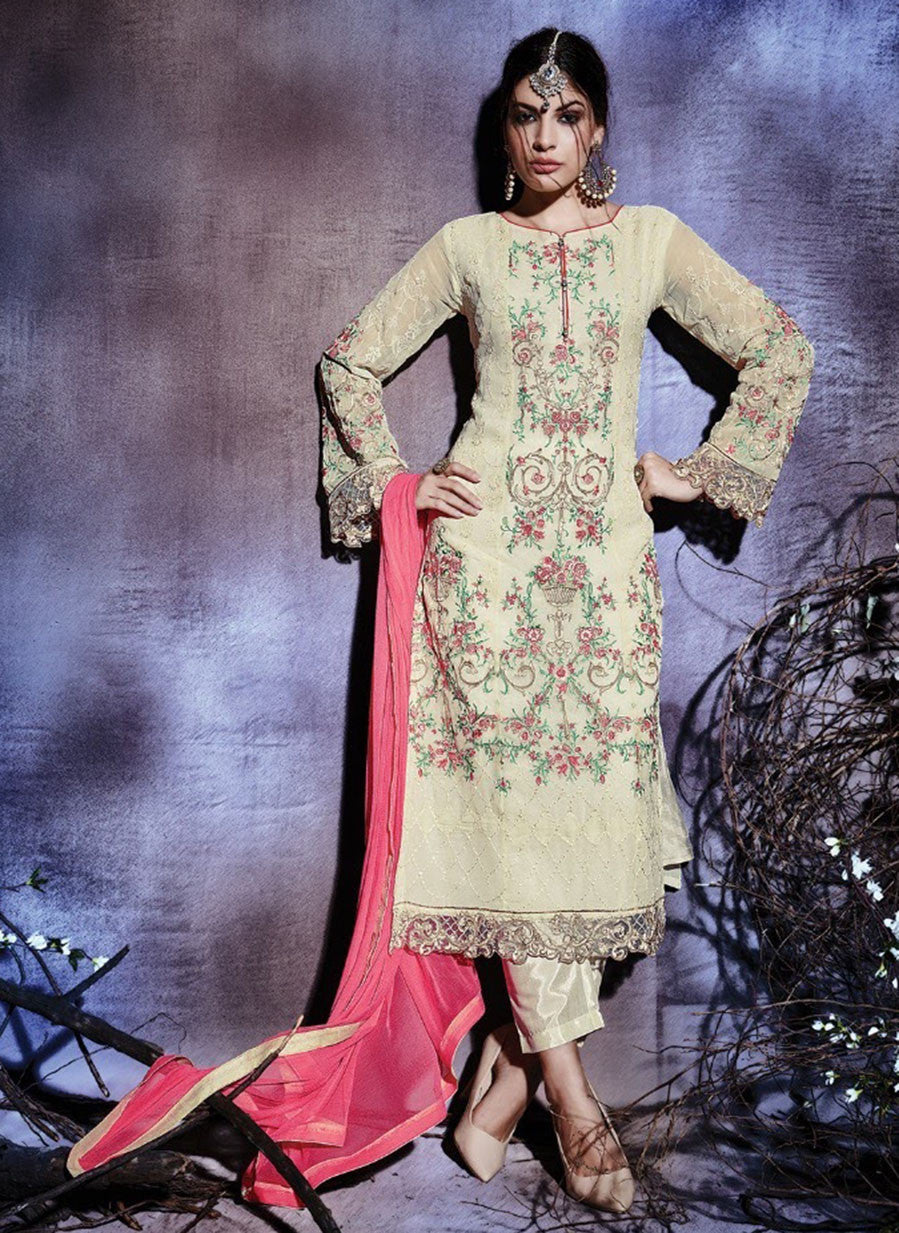 NS10779  Beige Color Georgette Designer Suit