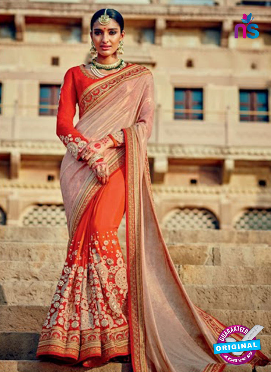 Orange Georgette Party Wear Saree
