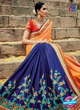 buy blue georgette party wear saree
