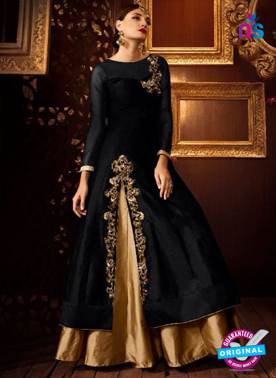 AZ 2258 Black and Beige Embroidery Silk Party Wear Suit