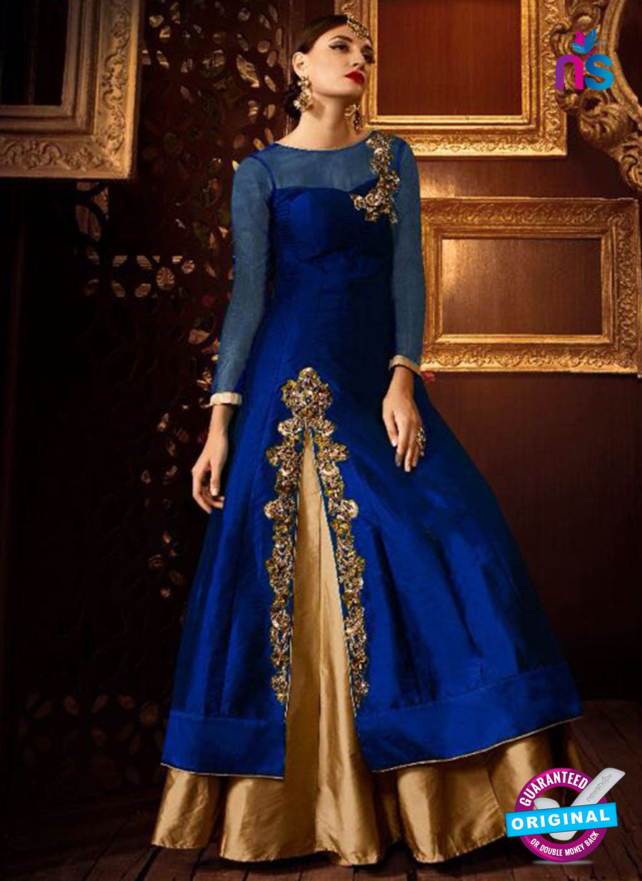 AZ 2259 Blue and Beige Embroidery Silk Party Wear Suit