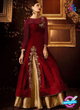AZ 2261 Maroon and Beige Embroidery Silk Party Wear Suit