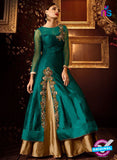 AZ 2257 Sea Green and Beige Embroidery Silk Party Wear Suit