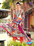 NS 12476 Multicolor and Orange Printed Cambric Suit
