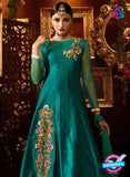 AZ 2257 Sea Green and Beige Embroidery Silk Party Wear Suit - Salwar Suits - NEW SHOP