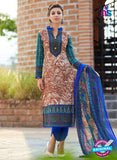 NS 12474 Brown and Blue Printed Cambric Suit