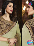 SC 13515 Beige and Brown Designer Fancy Traditional Party Wear Saree
