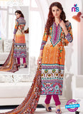 NS10529 Orange and Pink Cotton Satin Casual Straight Suit