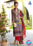 NS 12475 Multicolor and Red Printed Cambric Suit