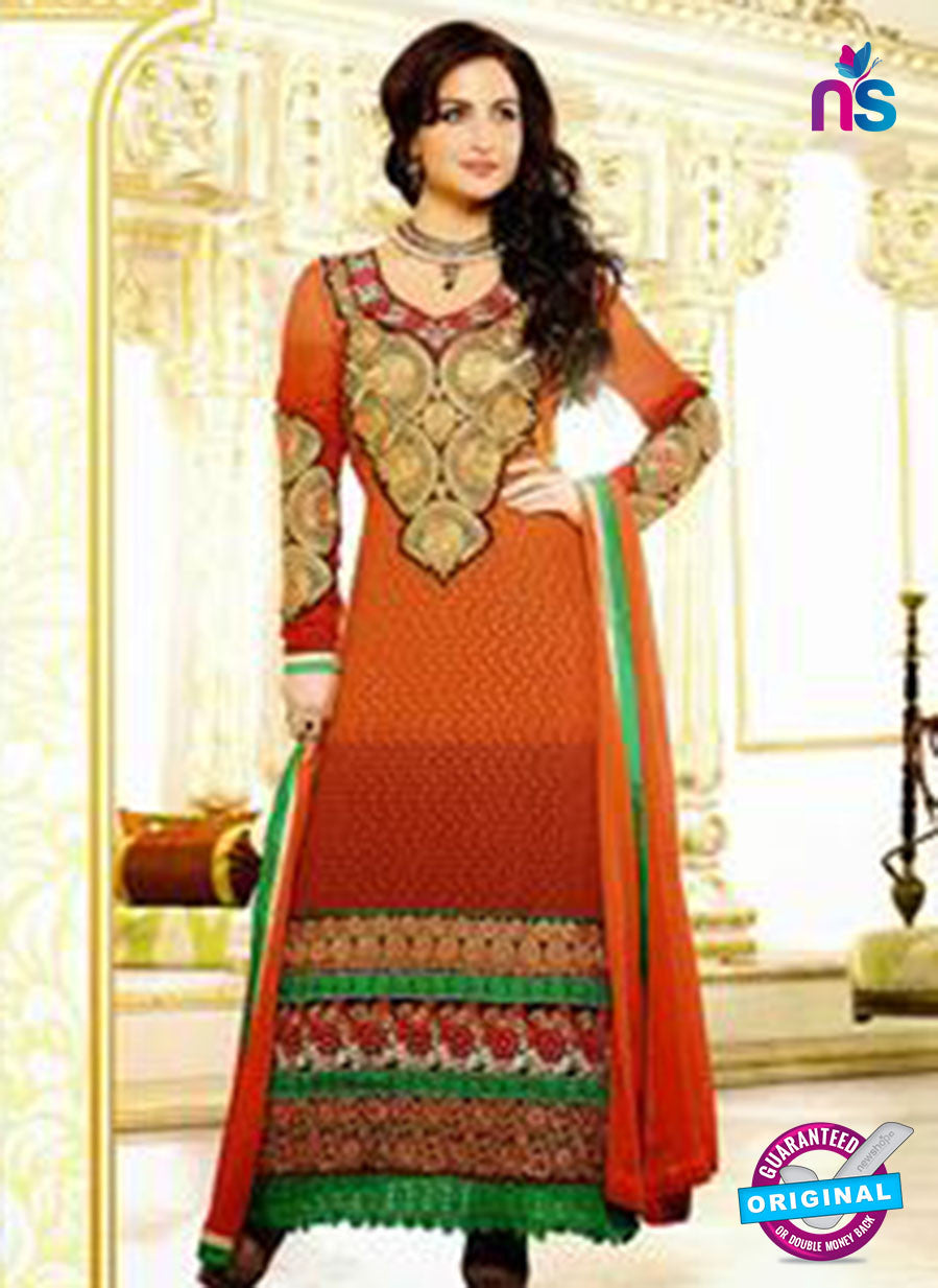 NS12044 Brown and Orange Straight Suit