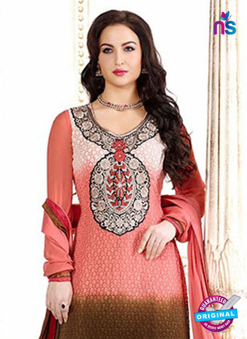 NS12045 Pink and Brown Straight Suit Online