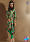 SC 14111 Green Silk Crepe Printed Tunic