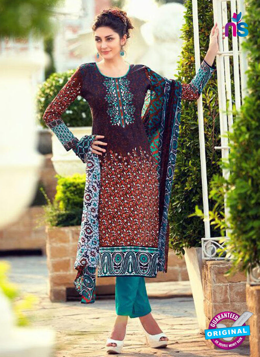 NS 12472 Multicolor and SeaGreen Printed Cambric Suit