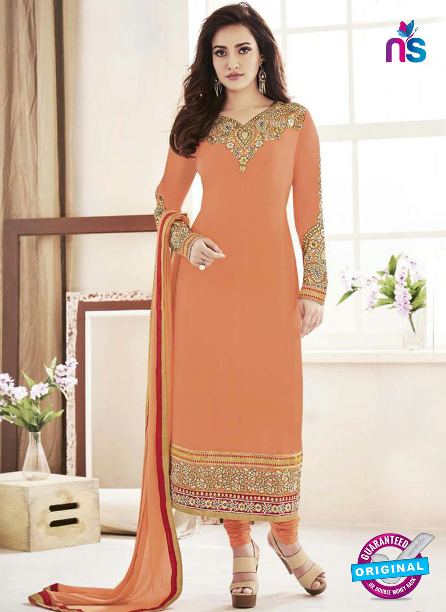 Fiona 108 Orange and Golden Faux Georgette Party Wear Straight Suit