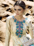 Omtex 1091 A Beige & Sea Green Color Satin Cotton Designer Suit