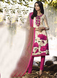 Omtex 1091 B Pink & Beige Color Satin Cotton Designer Suit