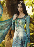 Omtex 1092 B Beige & Sea Green Color Satin Cotton Designer Suit