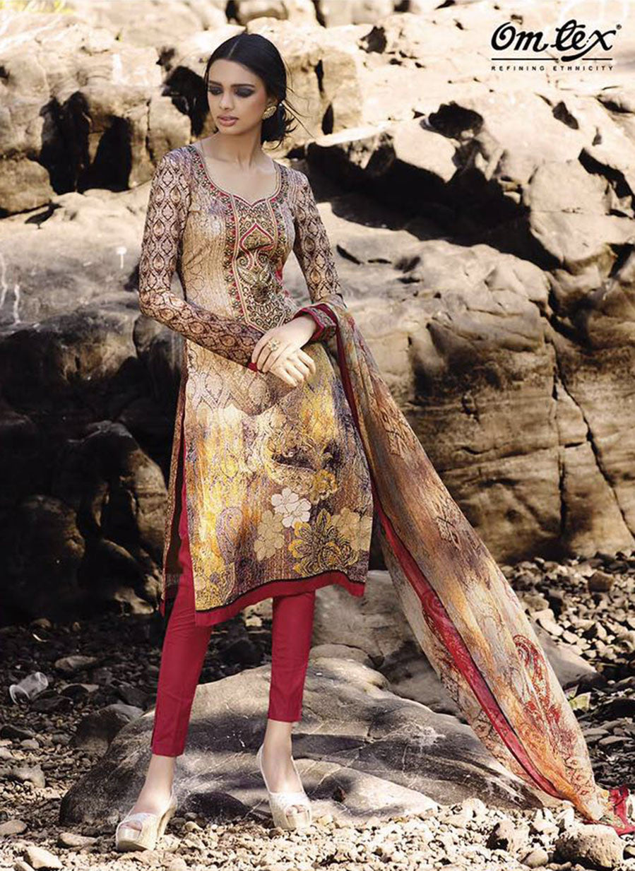 Omtex 1094 A Red & Yellow Color Satin Cotton Designer Suit