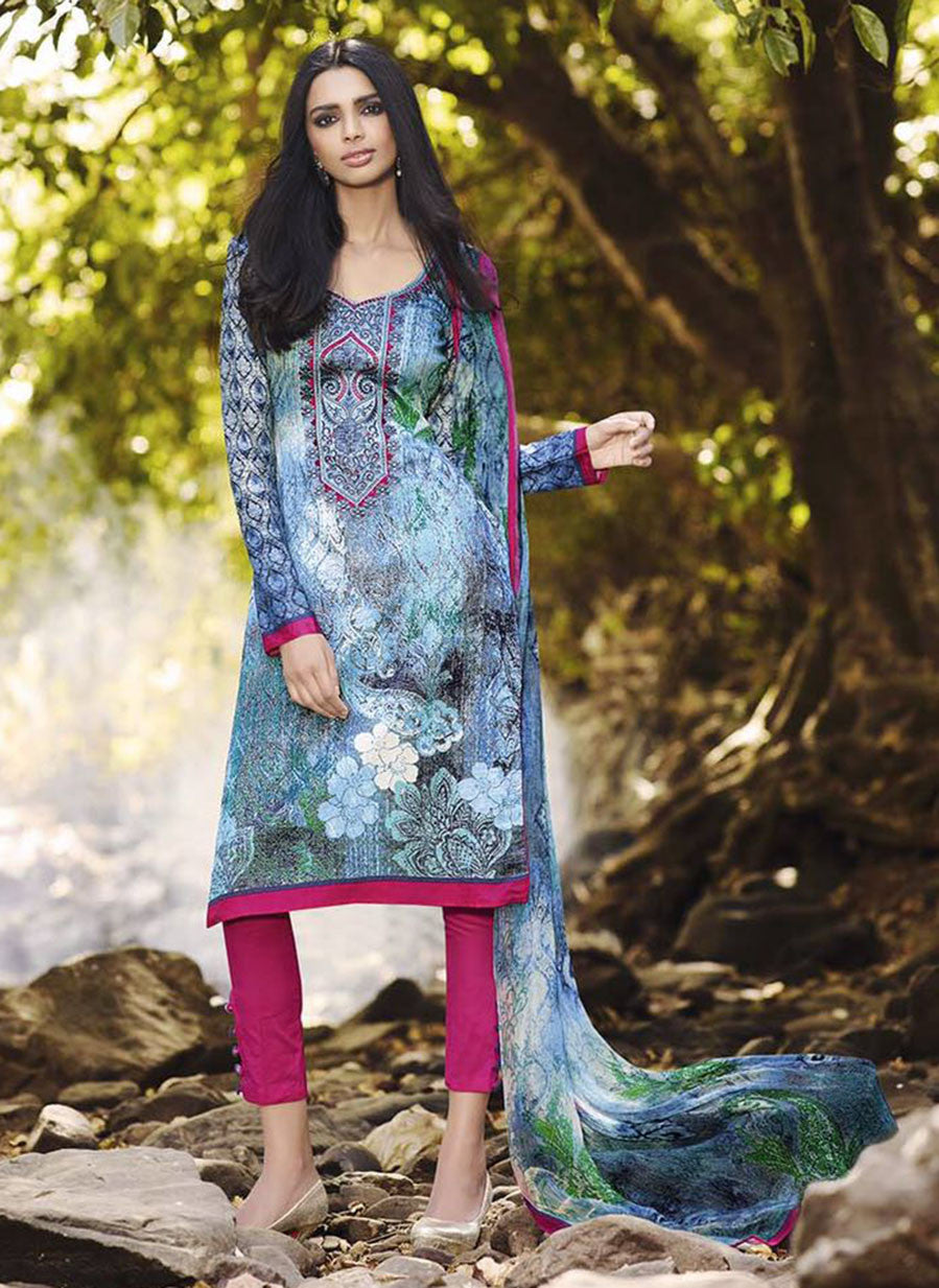 Omtex 1094 B Blue & Pink Color Satin Cotton Designer Suit