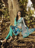 Omtex 1095 B Grey & Sea Green Color Satin Cotton Designer Suit