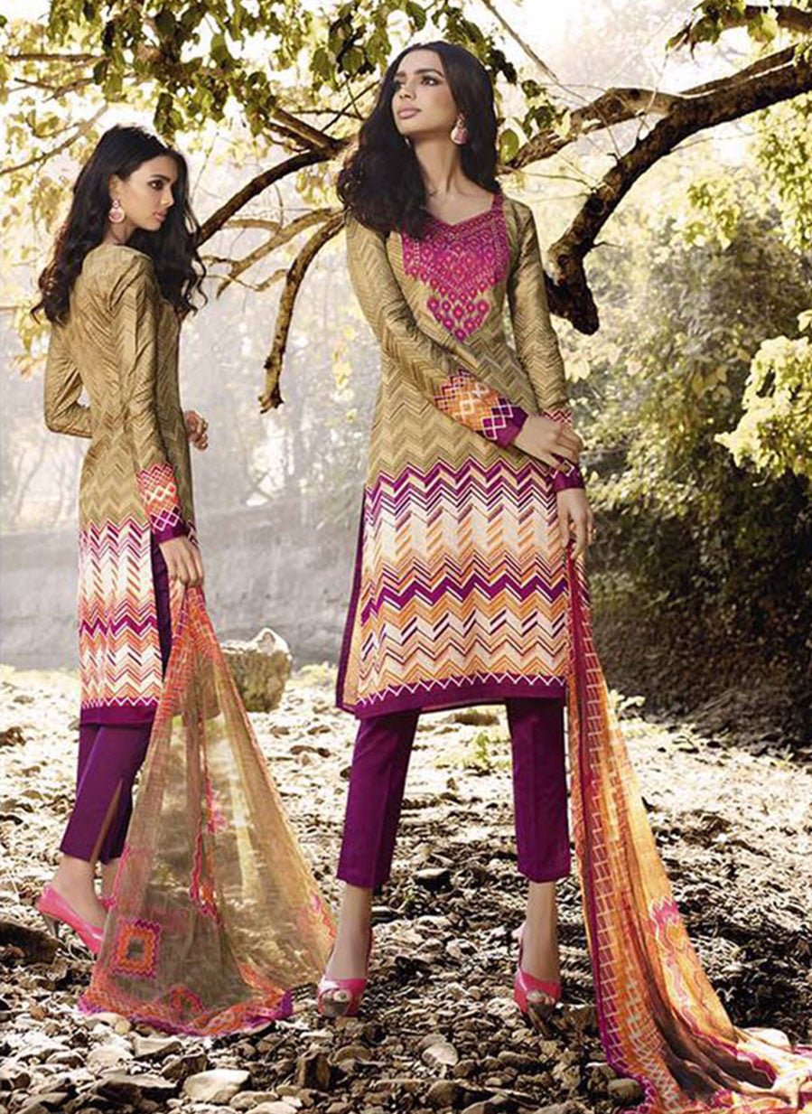 Omtex 1096 A Purple & Beige Color Satin Cotton Designer Suit