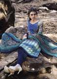 Omtex 1096 B Blue & Grey Color Satin Cotton Designer Suit