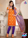 NS12249 Orange and Purple Chudidar Suit