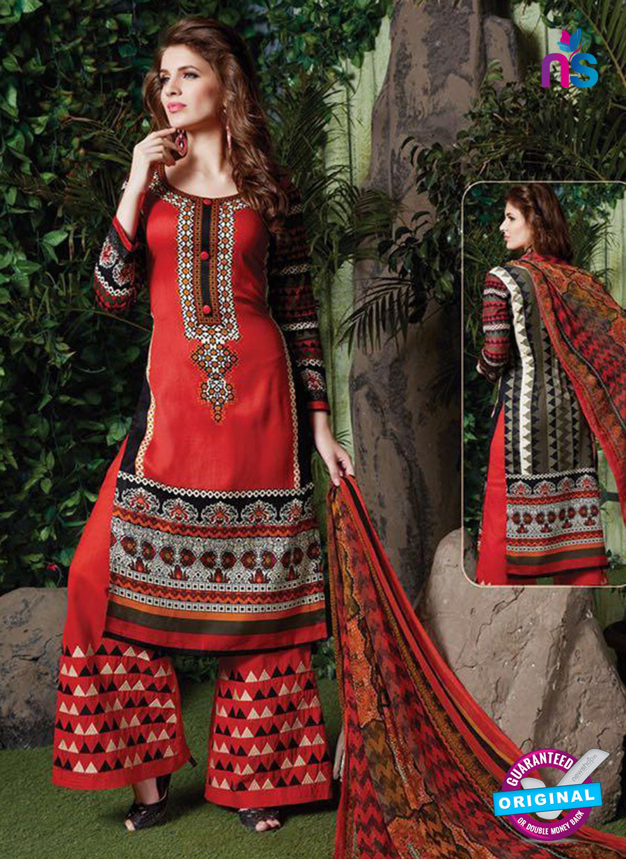 SC 13713 Red Glace Cotton Designer Exclusive Fancy Un-stitched Straight Plazo Suit
