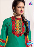 NS11110 Sea Green and Red Satin Jacquard Plazo Suit