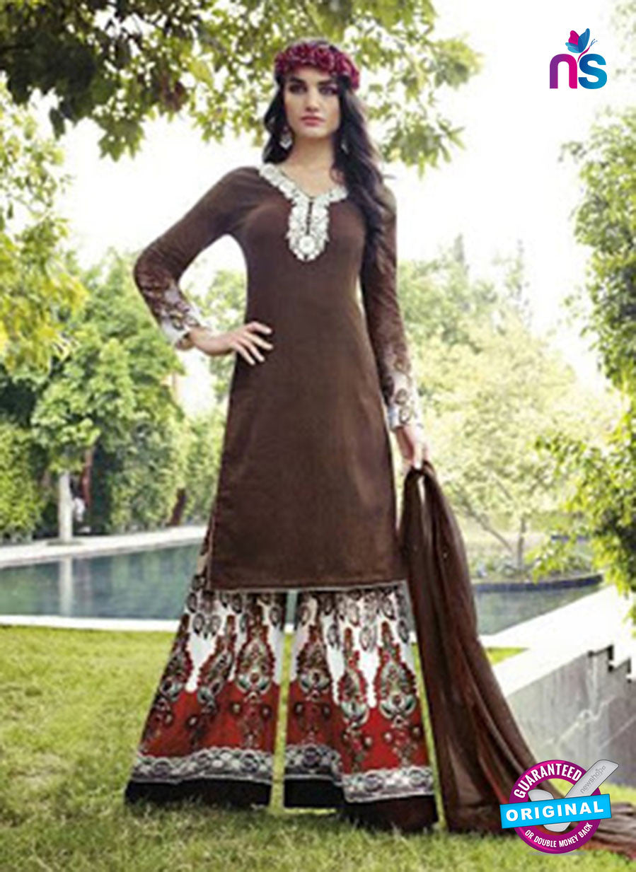 NS 12294 Brown and Red Cotton Satin Party Wear Plazzo Suit