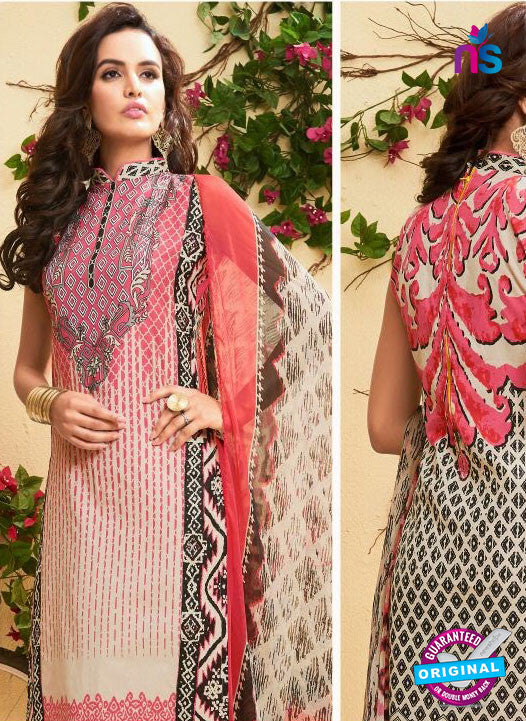 SC 13524 Beige and Pink Designer Fancy Cambric Suit
