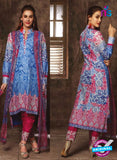 NS 12386 Blue and Red Printed Pure Lawn Suit