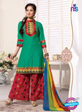 NS11110 Sea Green and Red Satin Jacquard Patiala Suit