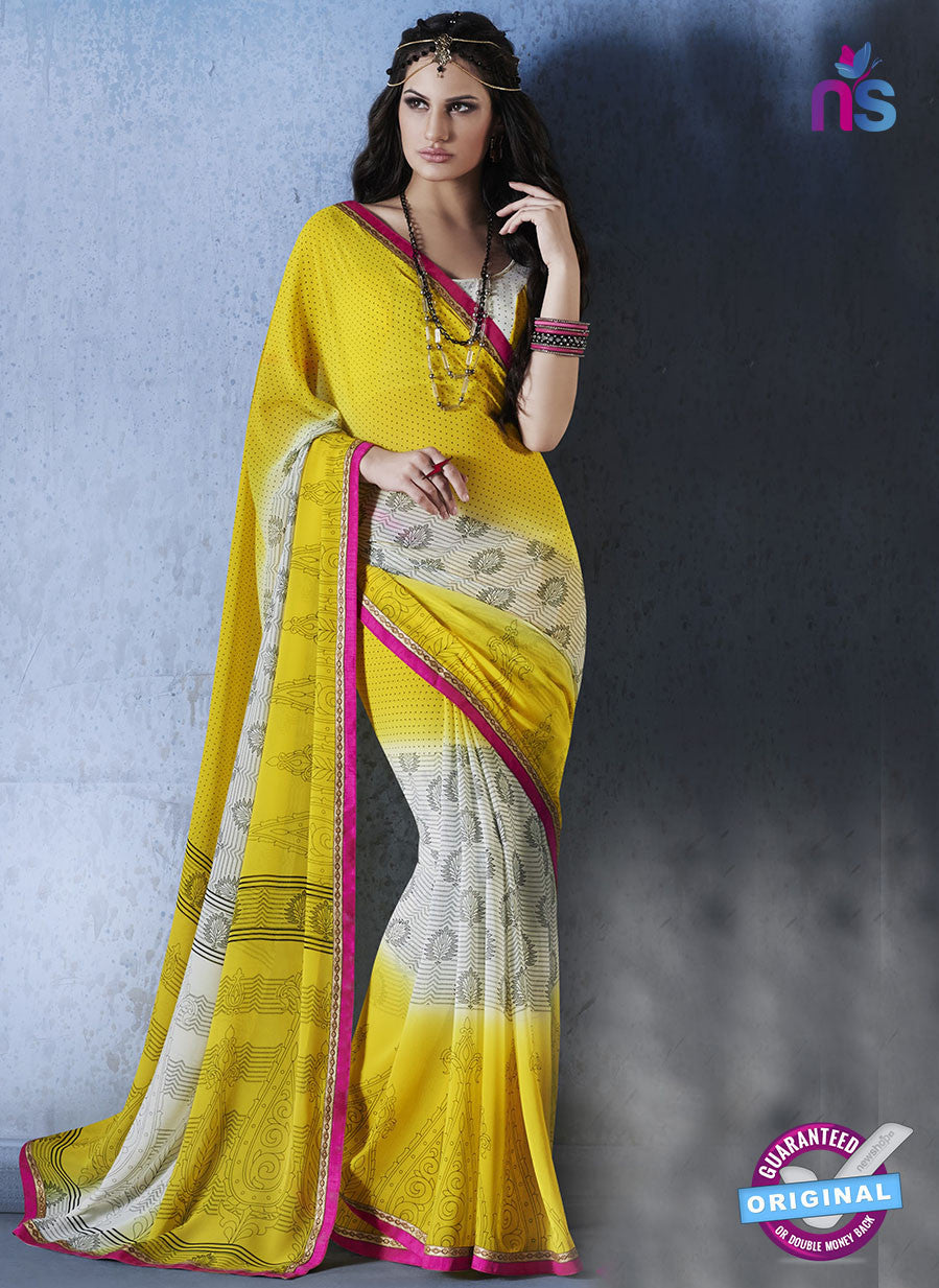 NS10556 Yellow, White and Pink Georgette Casual Saree
