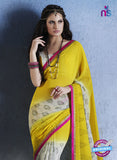 NS10556 Yellow White and Pink Georgette Casual Saree