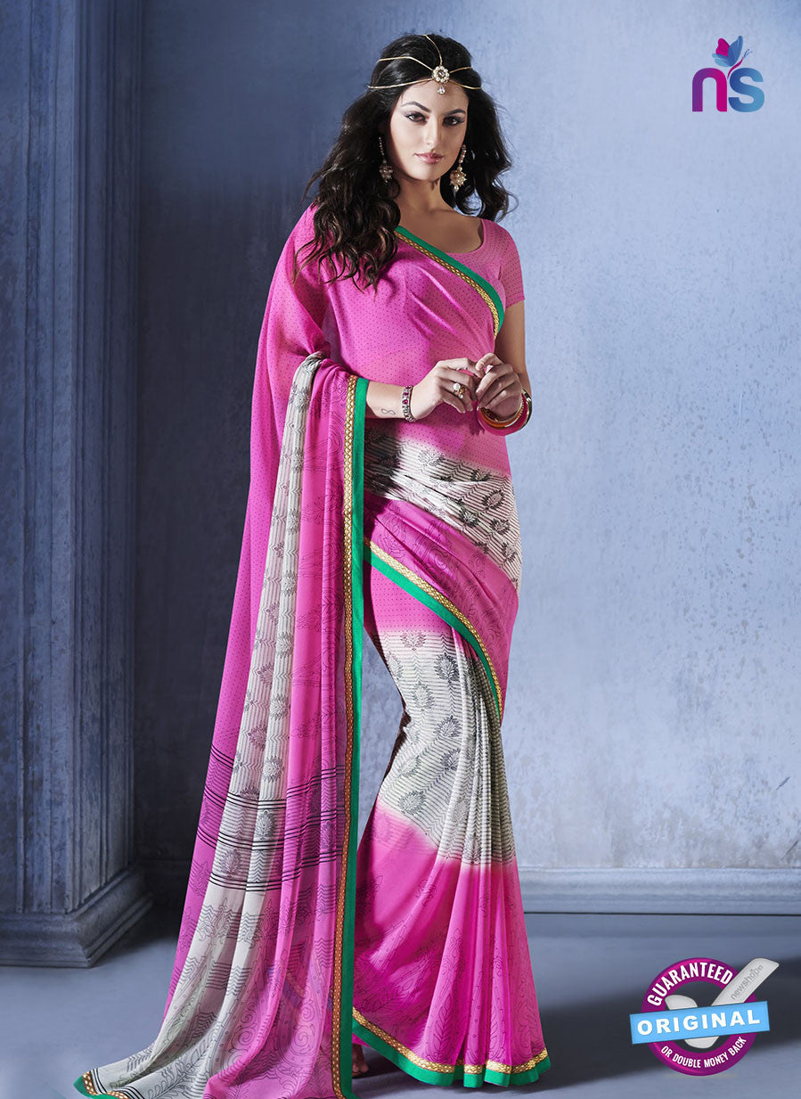 NS10557 Pink, White and Green Georgette Casual Saree